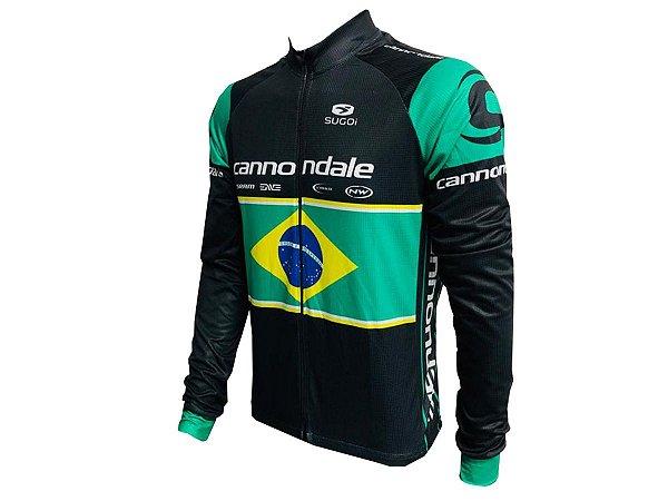 Camisa Ciclismo Mountain Bike Manga Longa Zíper Total Cannondale Brasil