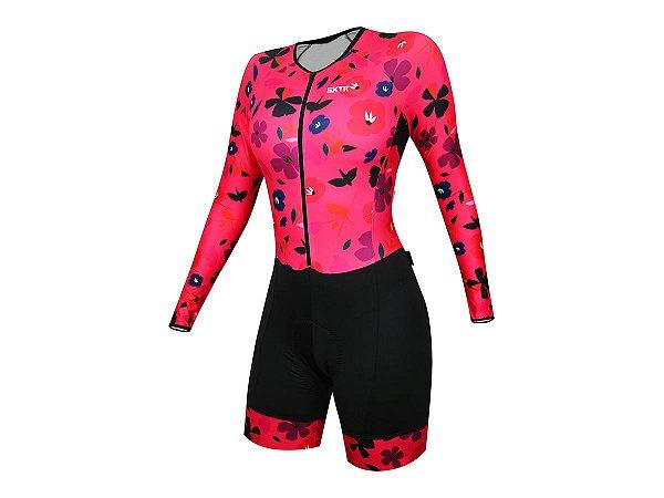 Macaquinho Ciclismo Feminino Mailla Manga Longa Rosa