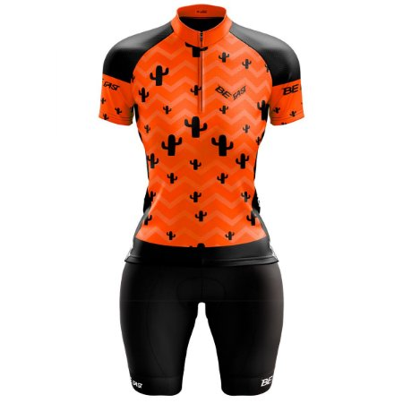 Conjunto Ciclismo Feminino Bermuda e Camisa Cacto Laranja