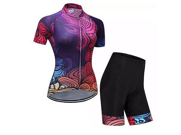 Conjunto Ciclismo Bermuda e Camisa Floral Forro em Gel