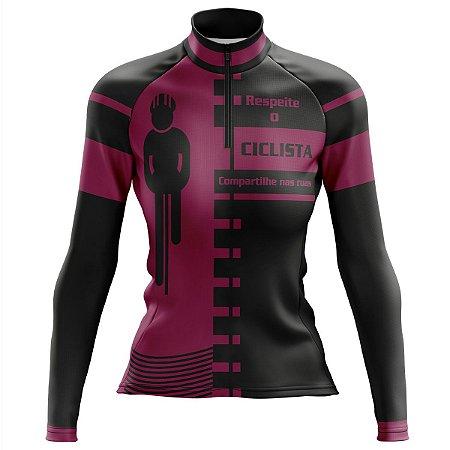 Camisa Ciclismo Mountain Bike Feminina Respeite o Ciclista Manga Longa