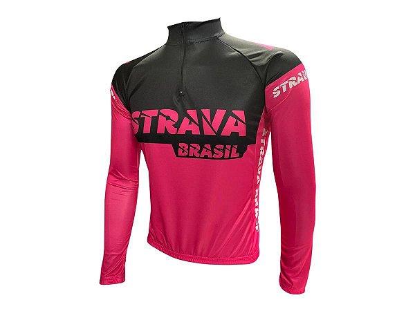 Camisa Ciclismo Mountain Bike Strava Rosa Manga Longa