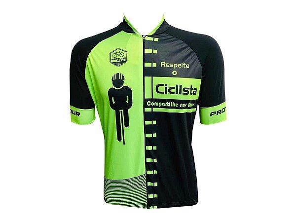 Camisa Ciclismo Mountain Bike Pro Tour Respeite o Ciclista Zíper Abertura Total