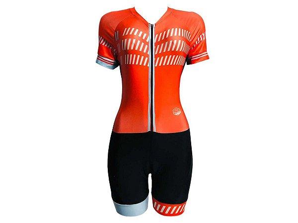 Macaquinho Ciclismo Feminino Pro Tour Vermelho Forro em Gel