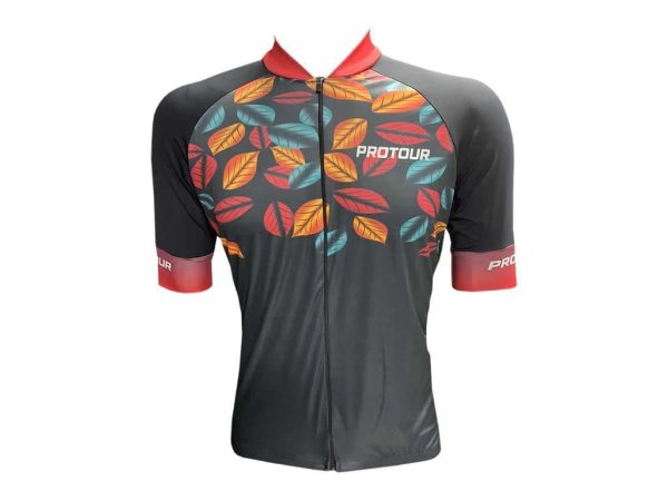 Camisa Ciclismo Mountain Bike Pro Tour Folhas Zíper Abertura Total