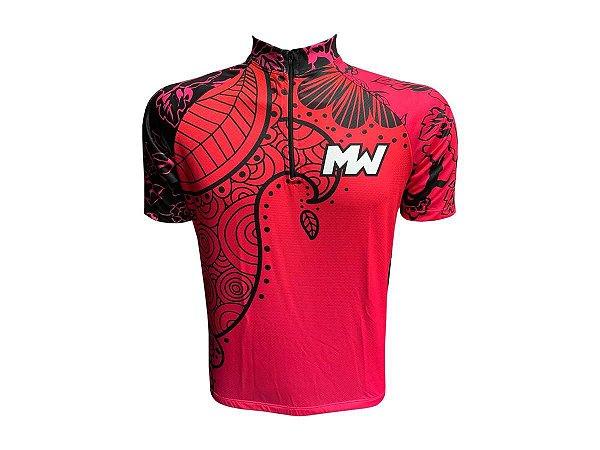 Camisa Ciclismo Mountain Bike Feminina Rosa Floral