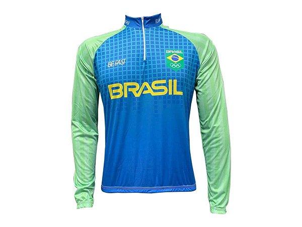 Camisa Ciclismo Mountain Bike Seleção Brasileira Manga Longa