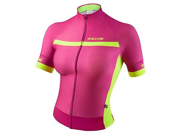 Camisa Ciclismo Feminina Evoe Rosa Amarelo Neon