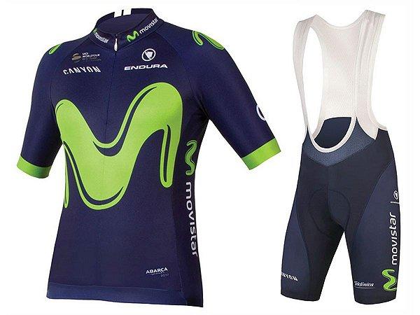Conjunto Ciclismo Bretelle e Camisa Movistar Forro em Gel