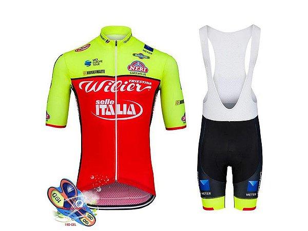 Conjunto Ciclismo Willier Bretelle e Camisa Forro em Gel