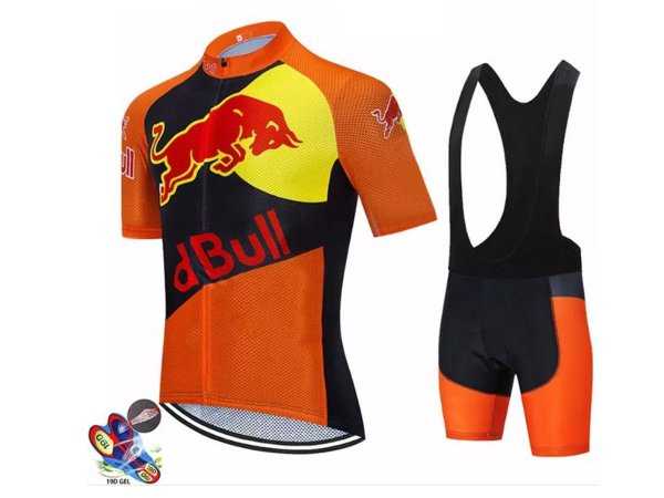 Conjunto Ciclismo Red Bull Bretelle e Camisa Forro em Gel