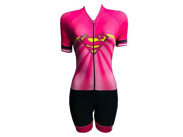 Macaquinho Ciclismo Feminino Super Girl Forro em GEL