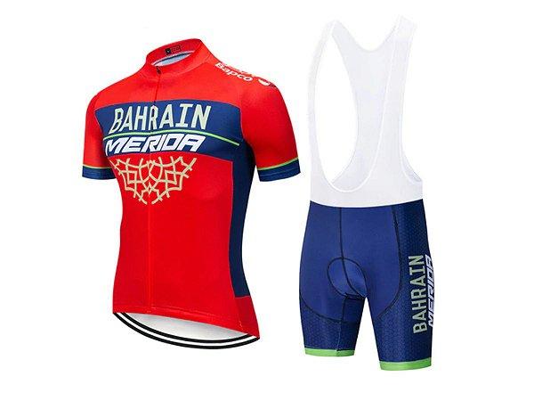 Conjunto Ciclismo Bretelle e Camisa Bahrain Merida Forro em Gel