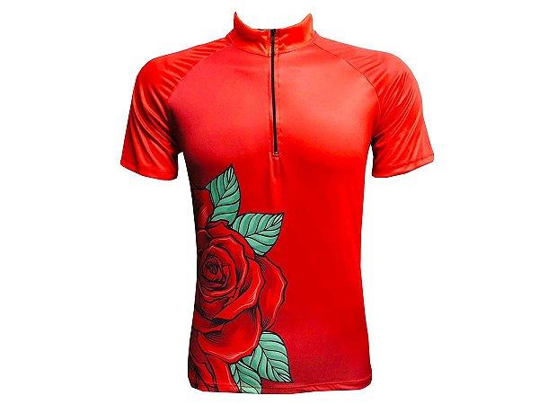 Camisa Ciclismo Mountain Bike Feminina Rosas