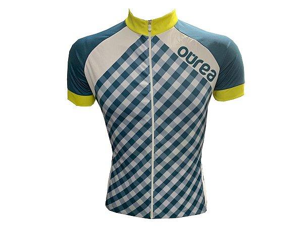 Camisa Ciclismo Mountain Bike Ourea Xadrez Zíper Full