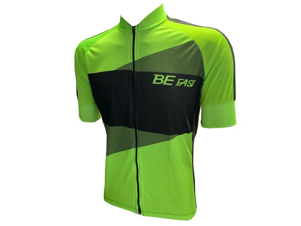 Camisa Ciclismo Zíper Total Be Fast Verde/Preto Mod 32