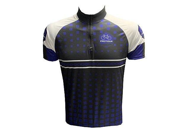 Camisa Ciclismo Masculina Pro Tour Quadrados Roxos Manga Curta