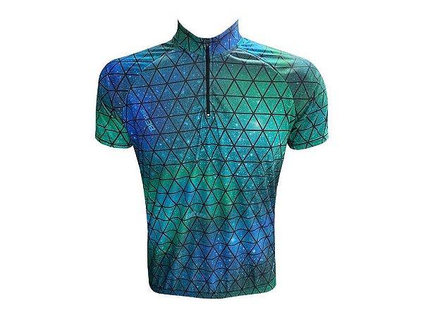 Camisa Ciclismo Masculina Galaxia Verde Manga Curta