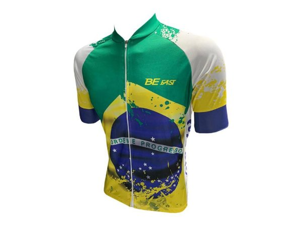 Camisa Ciclismo Zíper Total Brasil Manga Curta
