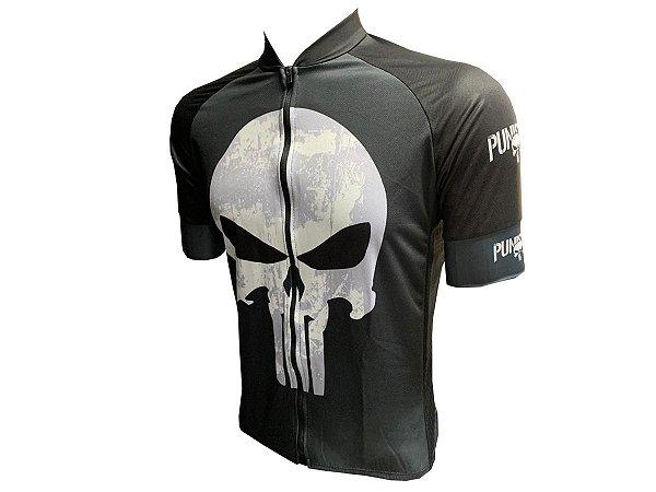 Camisa Ciclismo Zíper Total Justiceiro Manga Curta