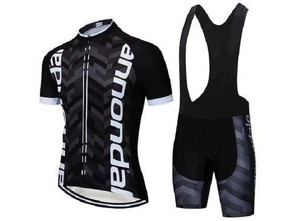 Conjunto Ciclismo Bretelle e Camisa Cannondale Preto/Branco