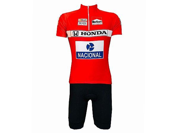 Conjunto Masculino Ciclismo Bermuda e Camisa Senna Mclaren