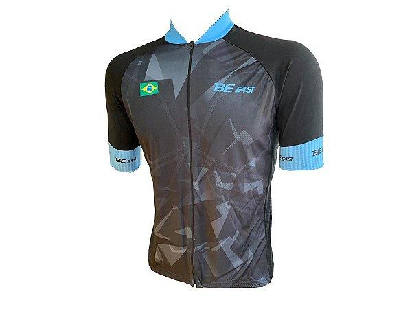 Camisa Ciclismo Zíper Total Manga Curta Azul Claro