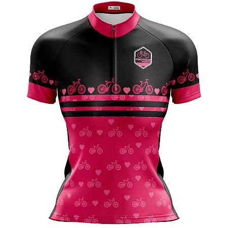 Camisa Ciclismo Mountain Bike Feminina Pro Tour Bike Rosas