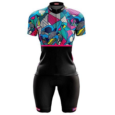 Conjunto Ciclismo Feminino Bermuda e Camisa Romero Brito Forro em Espuma