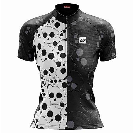 Camisa Ciclismo Mountain Bike Feminina Caveiras