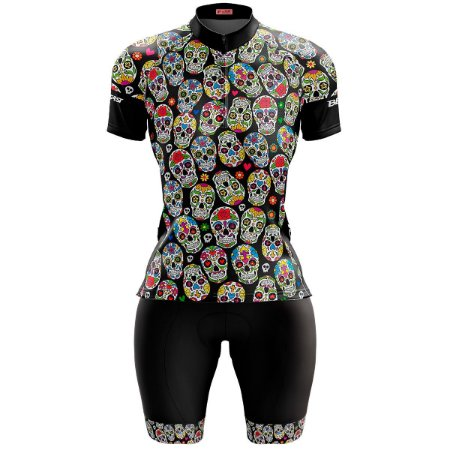 Conjunto Ciclismo Feminino Bermuda e Camisa Caveirinhas Forro em Espuma
