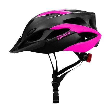 Capacete Kave Ciclismo Rosa Com Led MTB