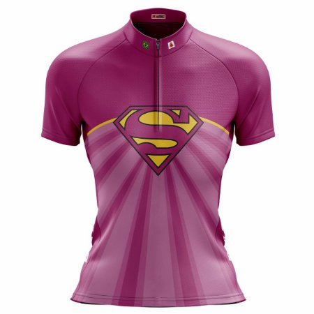 Camisa Ciclismo Mountain Bike Feminina Super Girl