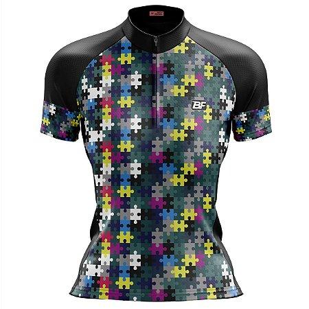 Camisa Ciclismo Mountain Bike Feminina Quebra Cabeça