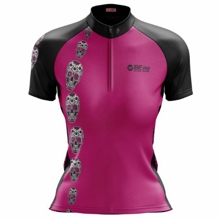 Camisa Ciclismo Mountain Bike Feminina Caveira Rosa