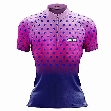 Camisa Ciclismo Mountain Bike Feminina Rosa Bolinhas