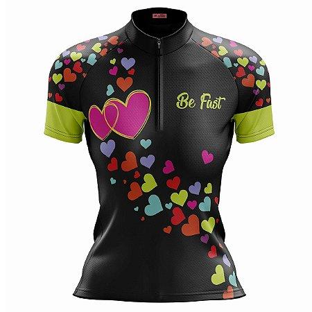 Camisa Ciclismo Mountain Bike Feminina Corações