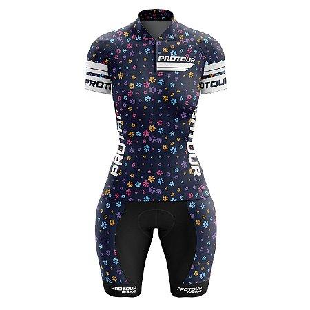 Conjunto Ciclismo Bermuda e Camisa Feminino Pro Tour Patinhas