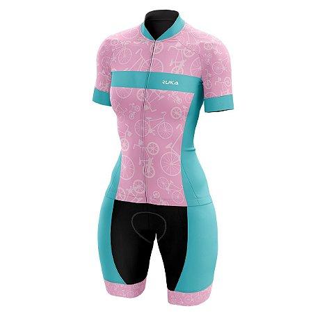 Macaquinho Ciclismo Feminino Ruka Cycle Rosa Forro em Gel