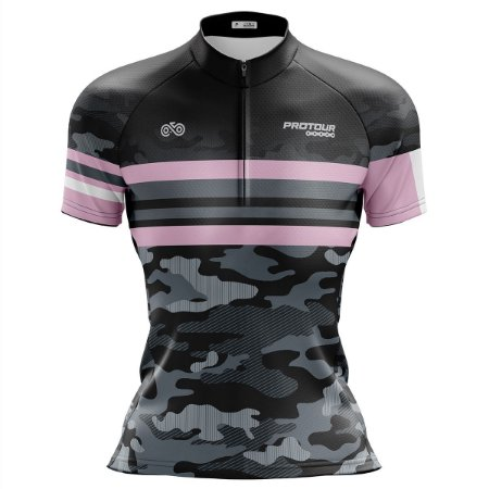 Camisa Ciclismo Mountain Bike Feminina Pro Tour Camuflada