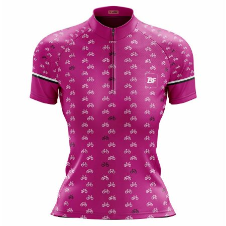 Camisa Ciclismo Mountain Bike Feminina Rosa Bicicletinhas