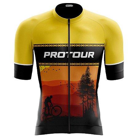 Camisa Ciclismo Pro Tour Premium Bike Natureza Zíper Abertura Total