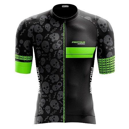 Camisa Ciclismo Pro Tour Premium Caveiras Zíper Abertura Total