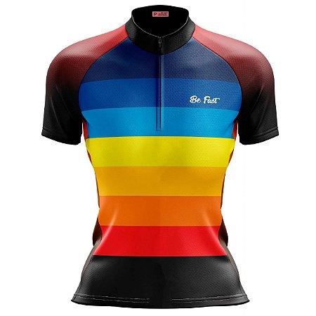 Camisa Ciclismo Mountain Bike Feminina Arco-Iris MOD 195