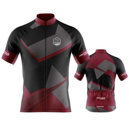 Camisa Ciclismo Pro Tour Preta Ranger Vermelho Premium Zíper Abertura Total