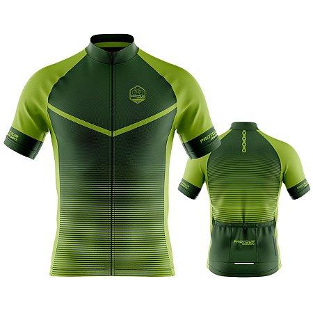 Camisa Ciclismo Pro Tour Preta Degrade Verde Premium Zíper Abertura Total