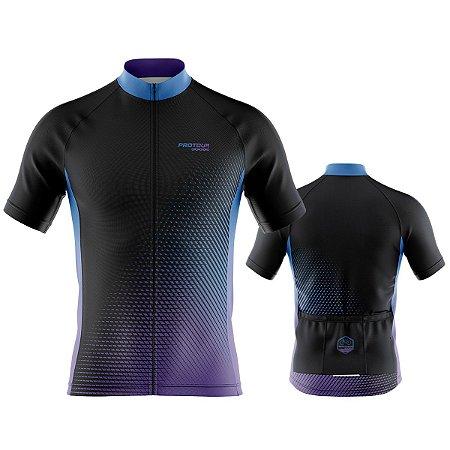 Camisa Ciclismo Pro Tour Preta Escamas Premium Zíper Abertura Total