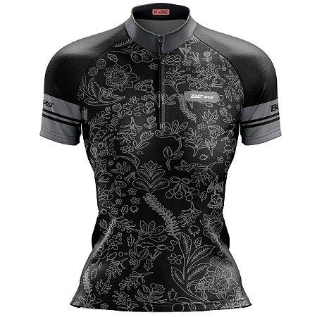 Camisa Ciclismo Mountain Bike Feminina Preta Rosas