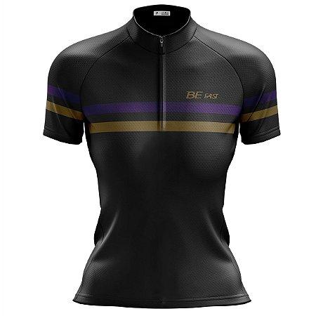Camisa Ciclismo Mountain Bike Feminina Preta Listras MOD 204