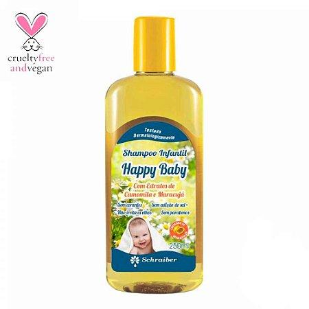 SCHRAIBER - Shampoo Infantil Happy Baby 250ml - Sem Sal - Sem Parabenos - Natural - Vegano - Kosher